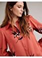 Marks & Spencer Gömlek Yaka Uzun Kollu Çiçek Desenli Saten Kadın Gömlek Oranj